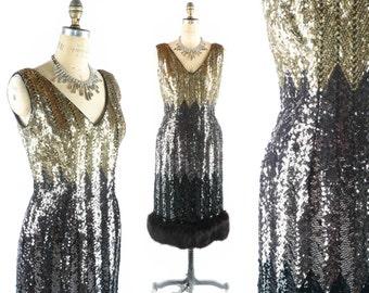"""Vintage 50s Sequin Dress // 1950s Sequin Dress // OMBRE Dress // Ombre Sequin Dress // Cocktail Dress // Fur Hem Dress - sz M - 30"""" Waist"""