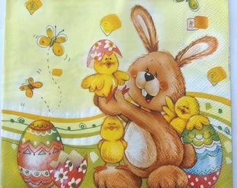 10 Easter paper napkins - Bunny eggs chicks REF.   3540