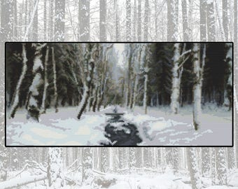 Cross stitch kit Woodland Winter, snow, forest, stream