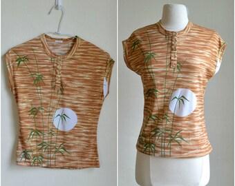 70s Knit Top Novelty Print Bamboo Moonrise Sky Scenic Sunrise Blouse