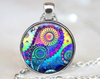 Paisley Art Pendant, Abstract Art Pendant, Blue Paisley Art Necklace, Abstract Art Jewelry, Paisley Glass Pendant, Bronze, Silver, 1274