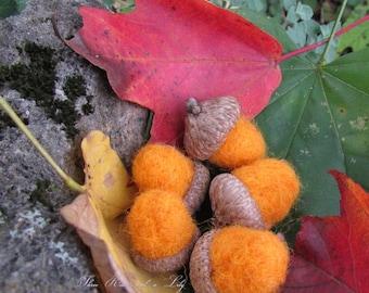 Orange Needle Felted Acorns, Set of 5