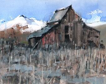 Original Landscape Painting Mountain Barn Rural Snow - 9x12 by David Lloyd Smith