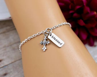 Blessed Bracelet, Silver Cross Bracelet, Sterling Silver, Charm Bracelet, Gift for Godmother, Confirmation Gift, Religious Bracelets, Gifts
