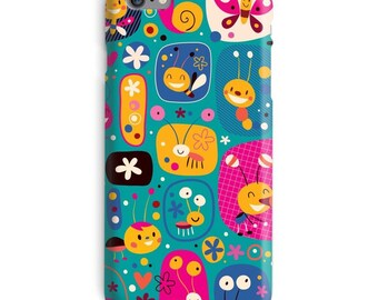 Butterfly iPhone Case, Insects iphone case, Bees iphone 6 case, Blue iphone 6 case, Cute iphone 6s case, Cartoon iphone case