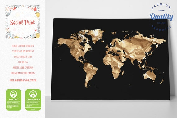 Gold world map on black canvas print free shipping home like this item gumiabroncs Images