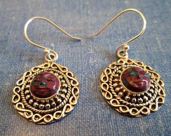 EARRINGS - CARVED - MOONFACE   - Purple Turquoise   - Ornate -   Dangle   - French Hook  - 925 -Sterling Silver        Earrings416