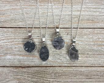 Gray Druzy Necklace, Druzy pendant, Grey Druzy Agate Necklace, Drusy Necklace, Round Druzy Necklace, Silver Edged Druzy, Grey Crystal