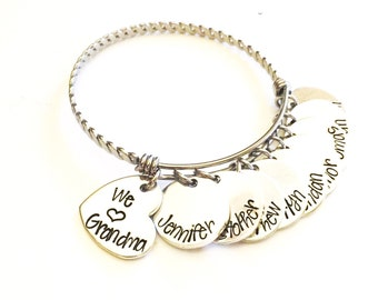 Mother's jewelry - Grandmother's jewelry - Name bracelet -  Hand stamped necklace, bracelet, or keychain - Custom Jewelry - Mother's Day!
