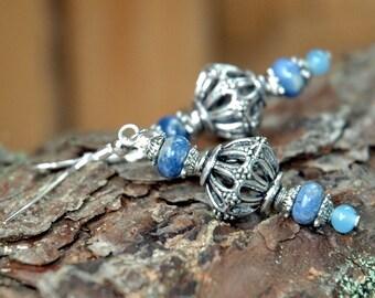 Sodalite Gemstone Earrings, Arabesque Openwork Cage Bead, Silver Metal, Casual Bohemian Style Drop Design