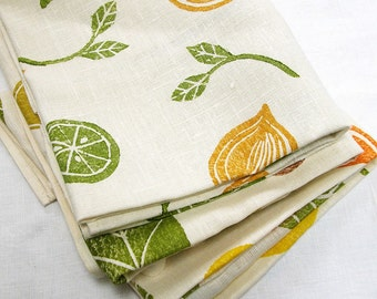 Citrus and Avocado linen hand block printed white cream botanical fruit tea towels gift for her set of 3