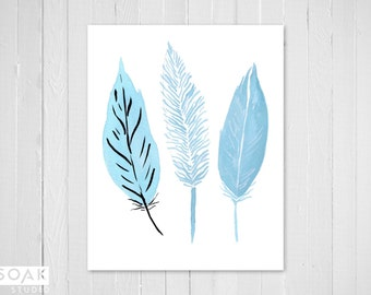 Three Feathers Print, Baby Blue, Muted Nature Watercolour Illustration Print, Pale Nursery Art, Cute Room Decor Kids Gift, feather painting