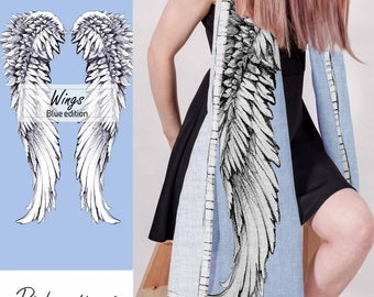 Women scarf - wings print - 100 linen - baby blue linen - washed scarf - summer scarf - printsonlinen - gift for her - photoshoot scarf