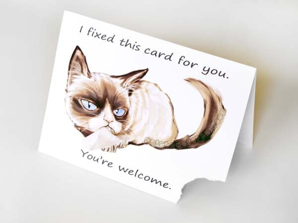 Grumpy cat funny greeting card ripped card sarcastic card zoom bookmarktalkfo Image collections