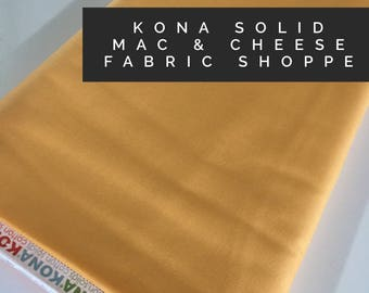 Kona cotton solid quilt fabric, Kona MAC AND CHEESE 1851, Solid fabric Yardage, Kaufman, Quilting Cotton fabric, Choose the cut