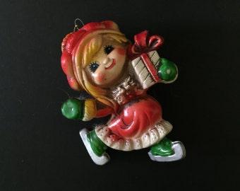 Vintage Molded Plastic Doll Girl Ornament Christmas Decoration Holiday Decor Figurine