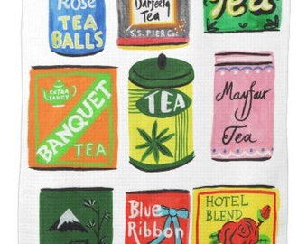 vintage tea tin Tea towel Kitchen towel