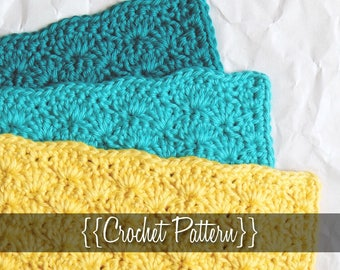 Crochet Pattern // Shell Cotton Cloth // Easy // Written Tutorial // Crochet Dishcloth Pattern // Crochet Washcloth Pattern