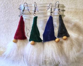 Nisse Gnome Earrings, Nisse Earrings, Nordic Gnome Earrings, Gnome Earrings, Tomte Earrings, Scandinavian Earrings, Swedish Gnome, Ornament