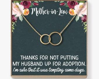 Mother-In-Law Necklace: Mother-In-Law, Mother-In-Law Gift, Mother-In-Law Necklace, To My Mother-In-Law Card, Funny, 2 Asymmetrical Circles