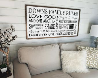 Family Rules Framed Sign , Custom Sign, Typography Sign, Wall Decor, Wood Sign, , Family Subway Wood Sign, Farmhouse Sign, Wood Signs