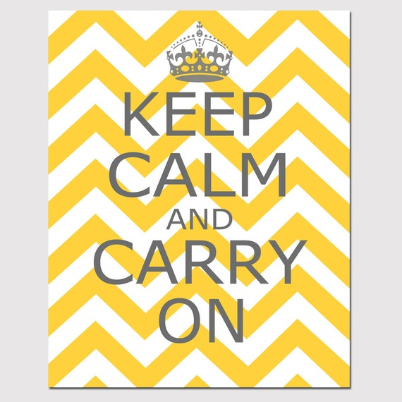Keep Calm and Carry On 8x10 Chevron Edition Wall Art