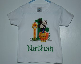 Personalized Applique Zoo Green Boy Short Sleeve Shirt