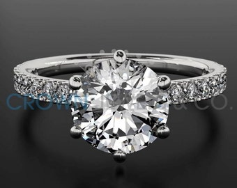 Engagement Ring 1 Carat Accented Diamond 14K White Gold Setting D VS Round Brilliant Cut Women Bridal Ring For Her