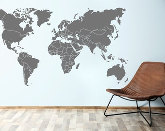 World Map Borders Wall Decal - Wall art stickers - Vinyl Graphic Wall Sticker
