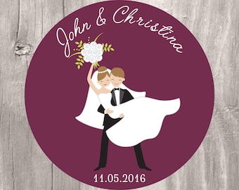 Wedding Tag, Personalized Burgundy Bride and Groom Printable Favor Tag, Wedding Burgundy Cupcake Topper, Bride and Groom Favor Tags