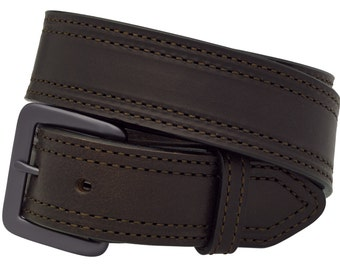 """Full Grain Leather 1-1/2"""" Work and Gun Belt, Double Row Stitched. Dark Brown  Made in the USA  (#1224)"""