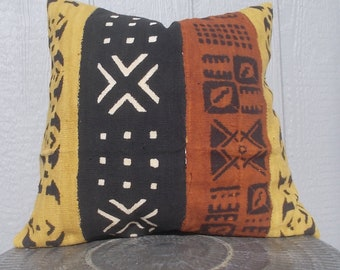 African Mud cloth Multi color Rust White Black Mustard Tribal pattern pillow cover