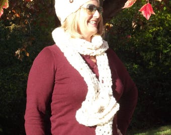 Women's or Men's Hand Knitted Beanie with Sassy Slouch; Union Longshore Beanie; Hand Knitted Slouchy Beanie; Cream Beanie