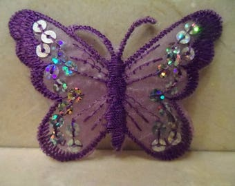 set of 2 sconces Butterfly lace and sequins 75 x 55 mm