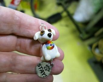 Golden Retriever Labrador Dog Lampwork Bead Pendant