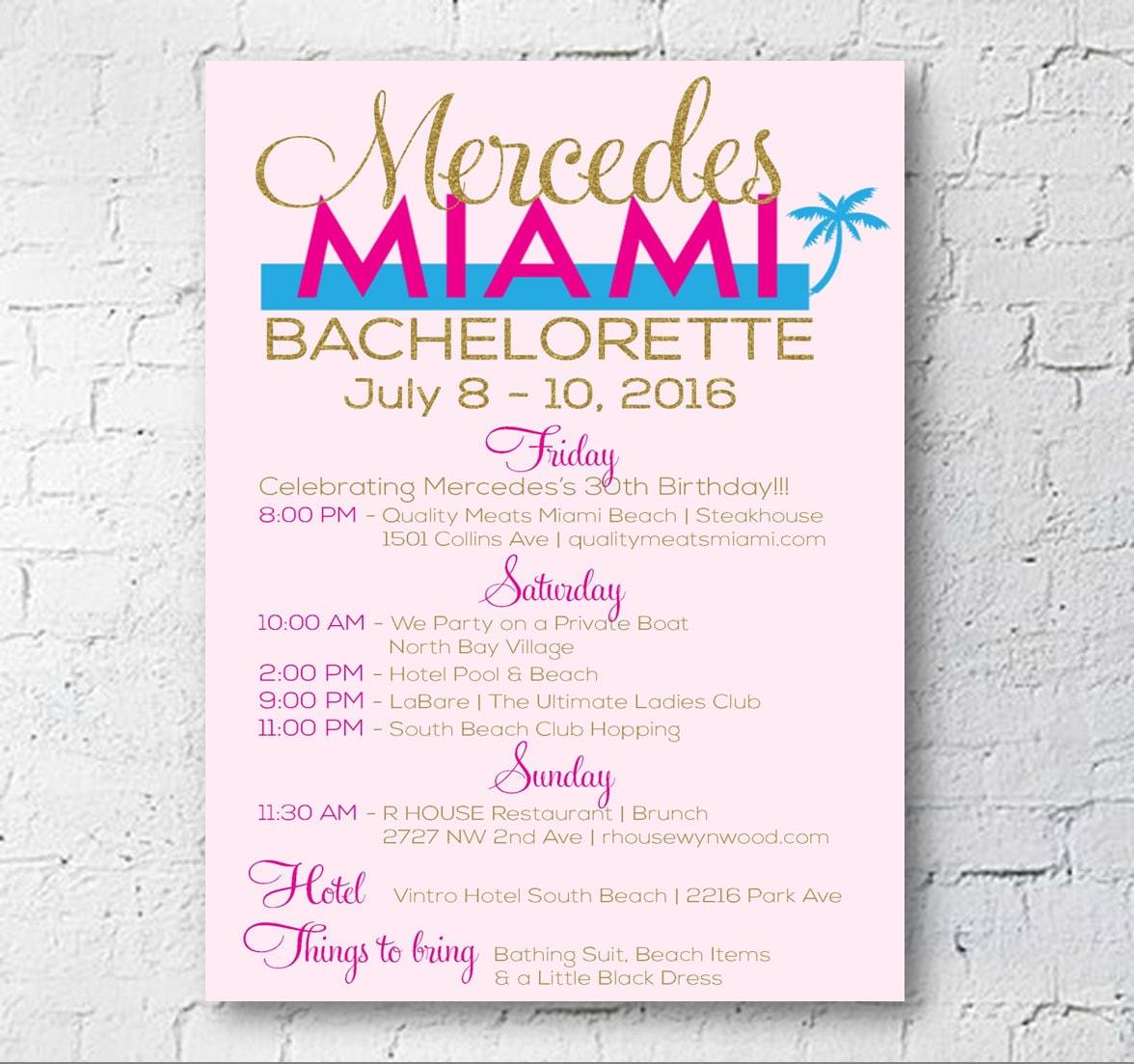 Miami Bachelorette Party Invitation Flyer Digital Download