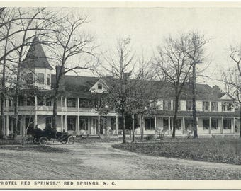 1920's auto @ Red Springs Hotel RED SPRINGS NC  North Carolina Asheville Post Card Co Postcard