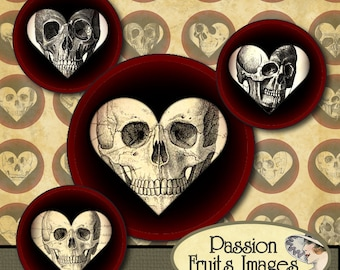 Skulls in Hearts Gothic Digital Collage Sheet--Instant Download