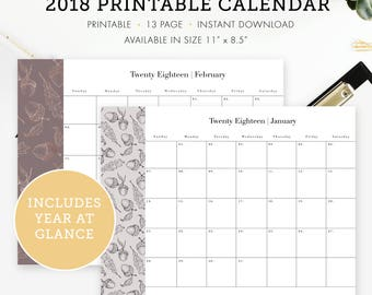 "2018 Calendar January - December,  a Year at glance, Size 11"" x 8.5"", Instant download"
