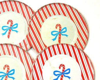 "4 Candy Cane Tin Toy Tea Plates,  Christmas Stripe by J Chein.  4 1/8""."