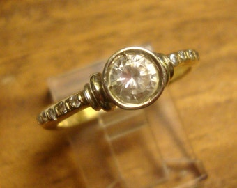 gold ring with white sapphire and tiny diamonds, size 7,  Classic Engagement ring, Only one, Substantial 10k solid gold - READY to Mail