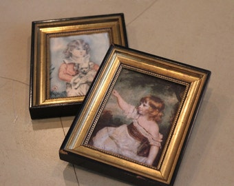 French miniature antique oil paintings on silk, Pair of small paintings, French paintings, French oil paintings, French children paintings