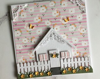Handmade Brick House Greeting Card, Birthday Card, New Home Card, Gift Card