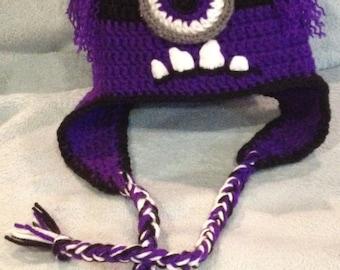 Super Cute Evil Minion Hat/ Beanie w/ Ear Flaps - All Sizes Available
