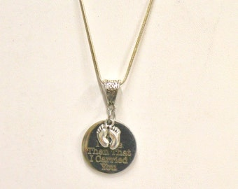 It Was Then That I Carried You Footprints Pendant with Silver Chain, Religious Statement Jewelry, Gift For Her, Inspirational