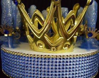 It's a Boy Royal Prince  lollipops party favors includes crown as well mini crowns/Royal theme/Boy/Royal Blue Gold/Centerpiece/baby shower