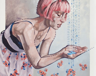 "Oil Painting with Embroidery, Original Contemporary Figurative Painting with Pink Hair, Flowers and Rain Drops - ""Rations"""