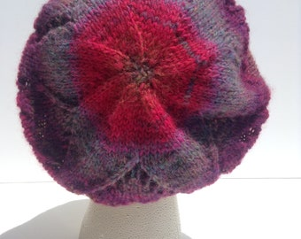 Heart Beret - Pink and purple wool knit