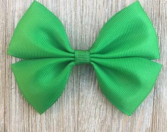Girls Green Stacked Grosgrain Hair Bow