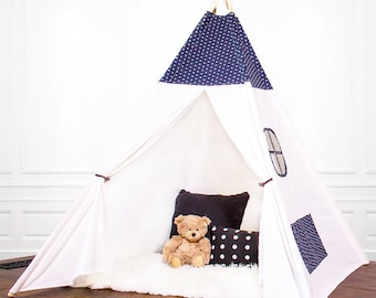 Canvas teepee tent, Play Tent, Kids Teepee, Childrens Teepee, Teepee Tent, Tipi, kids gift, Fort, Cream Teepee, Black and white Teepee